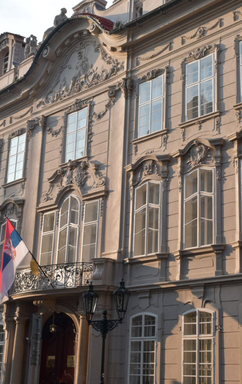 KP, Kaunicův palác v Mostecké ulici na Starém Městě v Praze